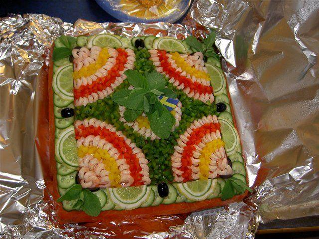 Swedish sandwich cake Smorgastarta