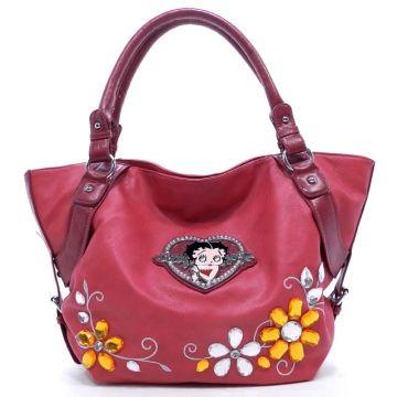 Classic Betty Boop® Tote Bag with Flower Gemstone & Rhinestone Heart  - Fuchsia