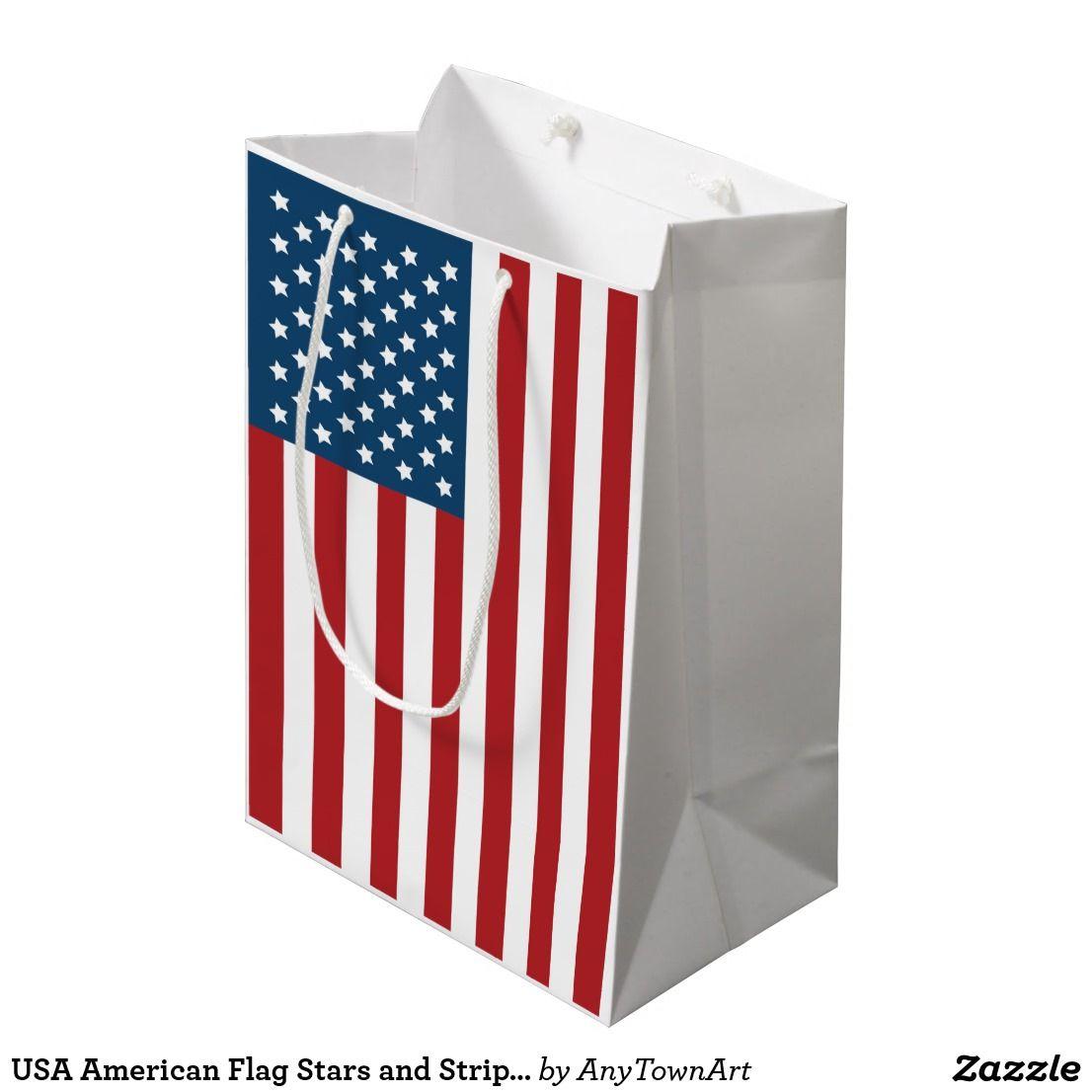 Usa American Flag Stars And Stripes Medium Gift Bag Zazzle Com American Flag Stars American Flag Patriotic Crafts