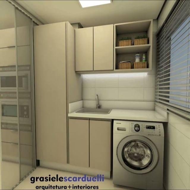 Well-known Projeto de lavanderia pequena que mostra que mesmo com dimensões  JK93
