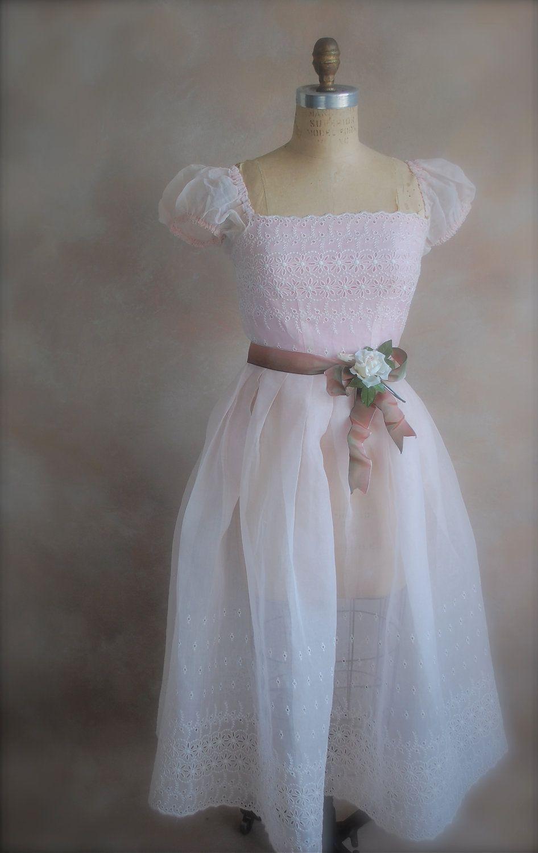 Vintage s prom dress silk organza pretty in pink extra