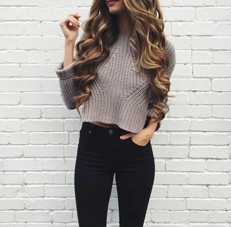 Teen Fashion Blogger — Basic Winter Outfit  cropped sweater and high ... 7c8ef6521