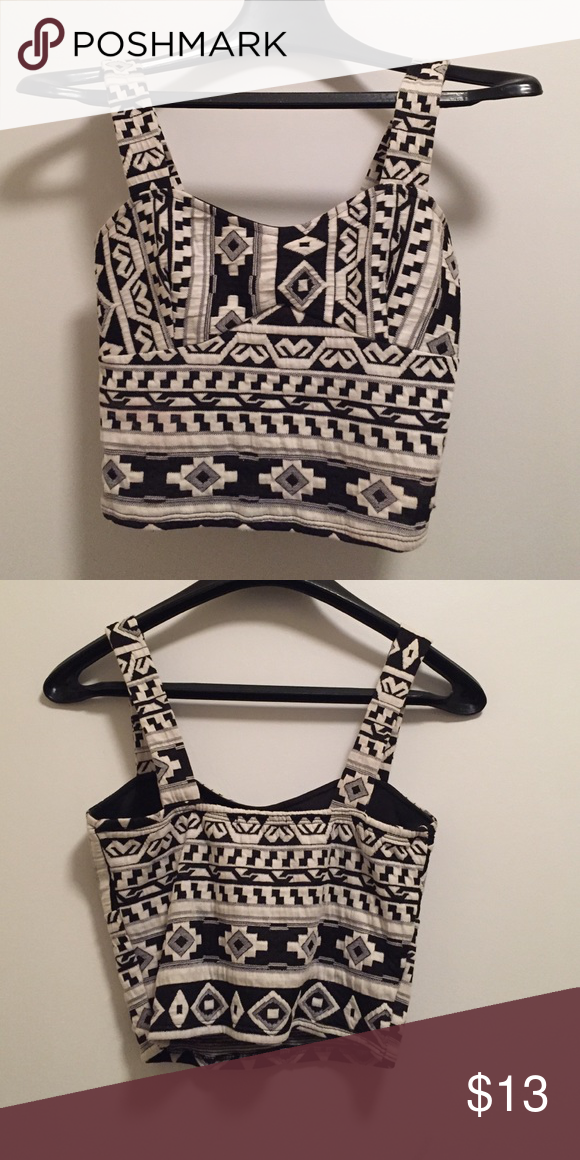 Aztec Black & White Crop Top Aztec Black & White Crop Top. 80% rayon 17% polyester 3% spandex Tops Crop Tops