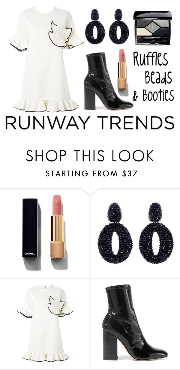 """""""Runway trend: Ruffles, beads and booties"""" by faithisabelle ❤ liked on Polyvore featuring Chanel, Oscar de la Renta, Marni, Valentino and Christian Dior"""