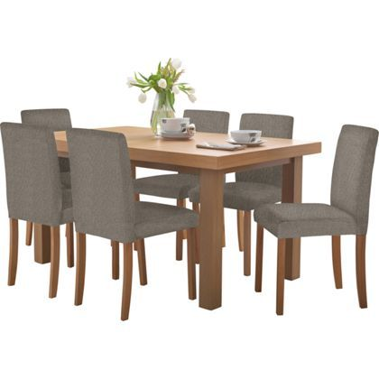 Hayden Oak Effect Dining Table And 6 Charcoal Chairs At Homebase 350
