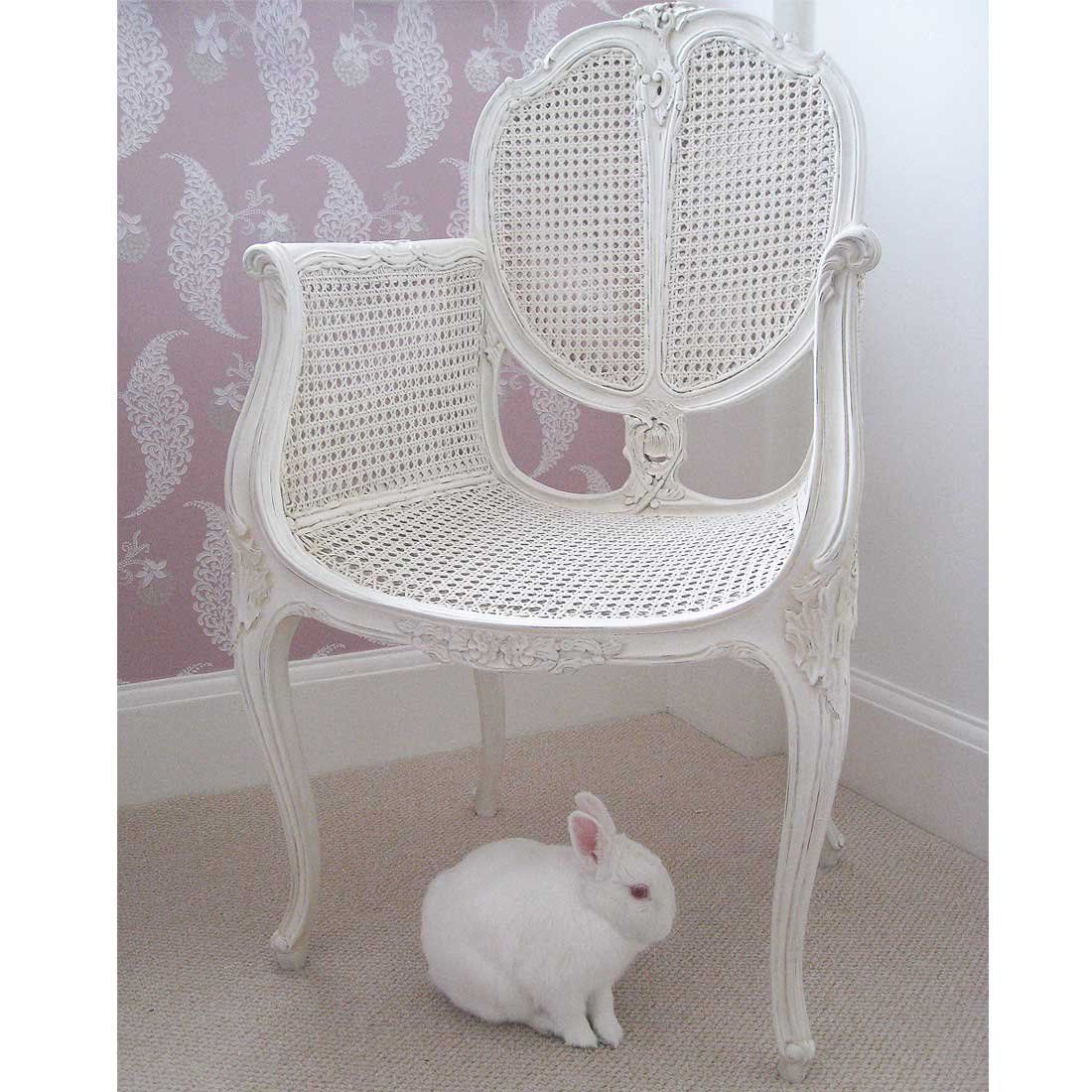 Provencal Rattan White Chair Bedroom Chair White