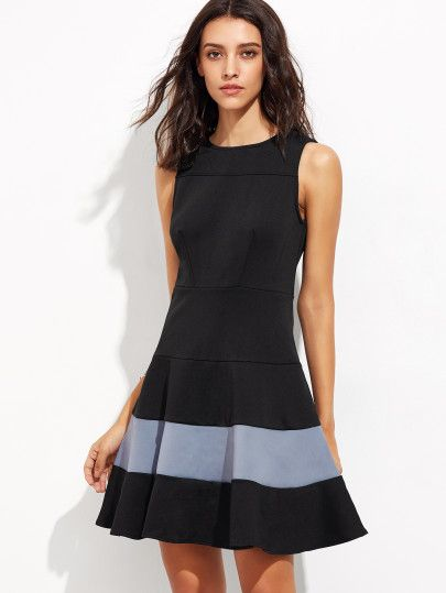 ärmelloses Kleid Reißverschluss am Rücken - schwarz