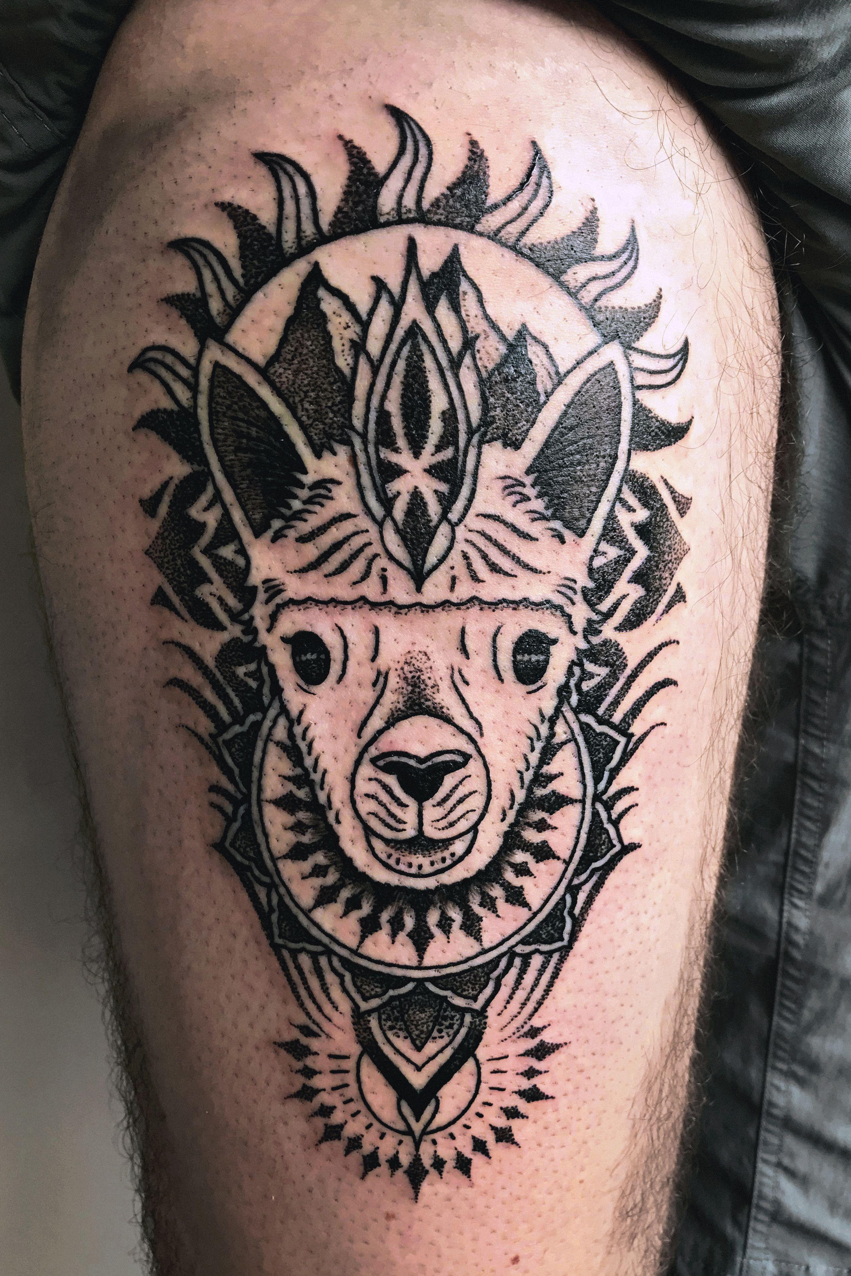 Cosmic alpaca tattoo made by zak korvin at pisac tattoo in