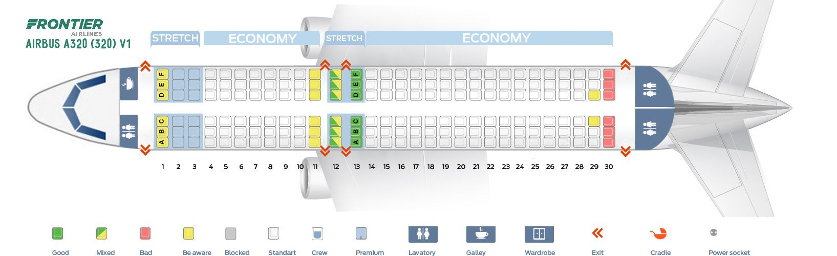 Frontier Airlines Airbus A320 200 Seat Map And Seating Chart Cabin V1 320 Seating Plan Seating Charts Airbus