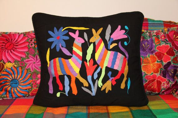 Multi Colored Otomi Pillow Sham Piece with black framing-Ready to ship