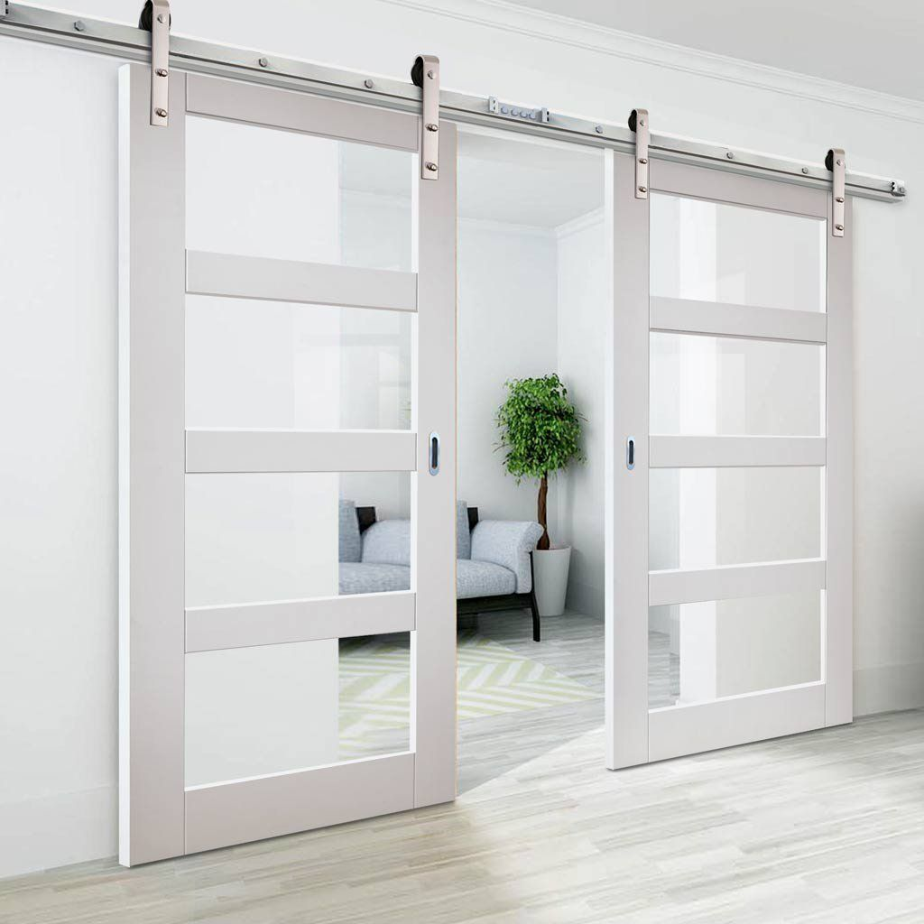 Thruslide Traditional Cayman White Sliding Double Door Clear Glass Lifestyle Image Glass Barn Doors Interior Sliding Doors Interior French Doors Interior