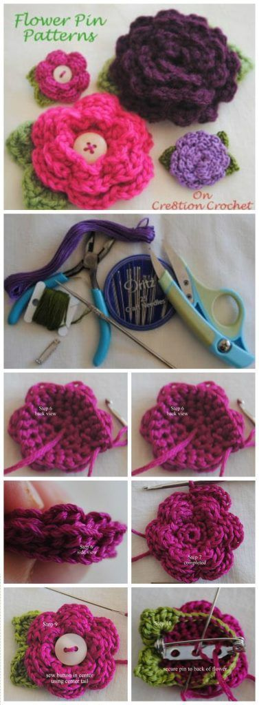 Diy Flower Pin Free Crochet Pattern Easy Crochet Flowers For