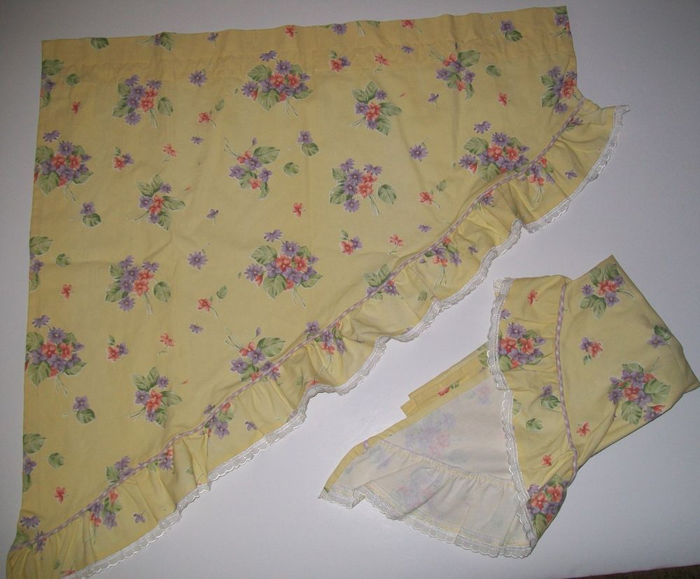 Waverly Garden Room Field Of Flowers Yellow Floral Swag Valance Set Lace  Trim #waverly #