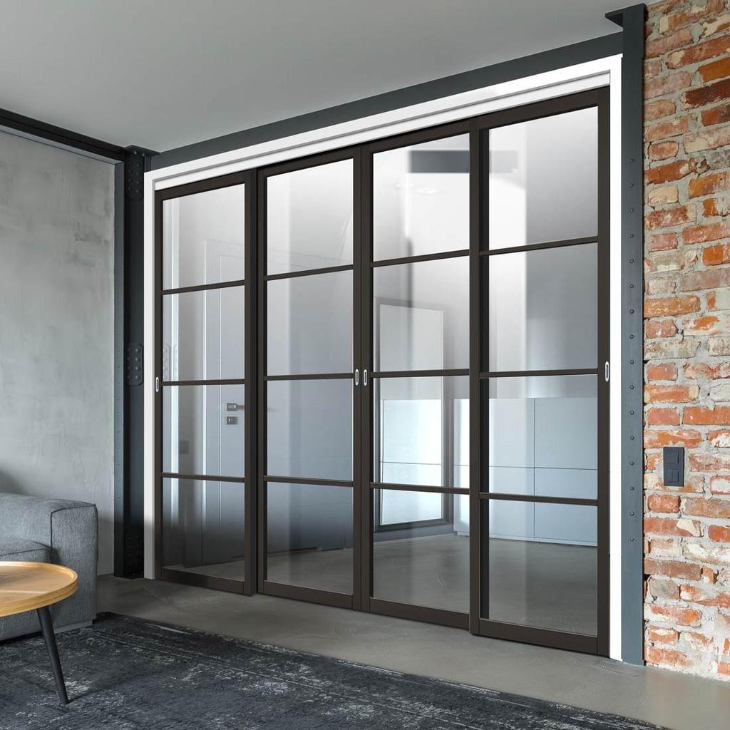 Four Sliding Doors And Frame Kit Soho 4 Pane Door Clear Glass Black Primed Soho Modern Doors
