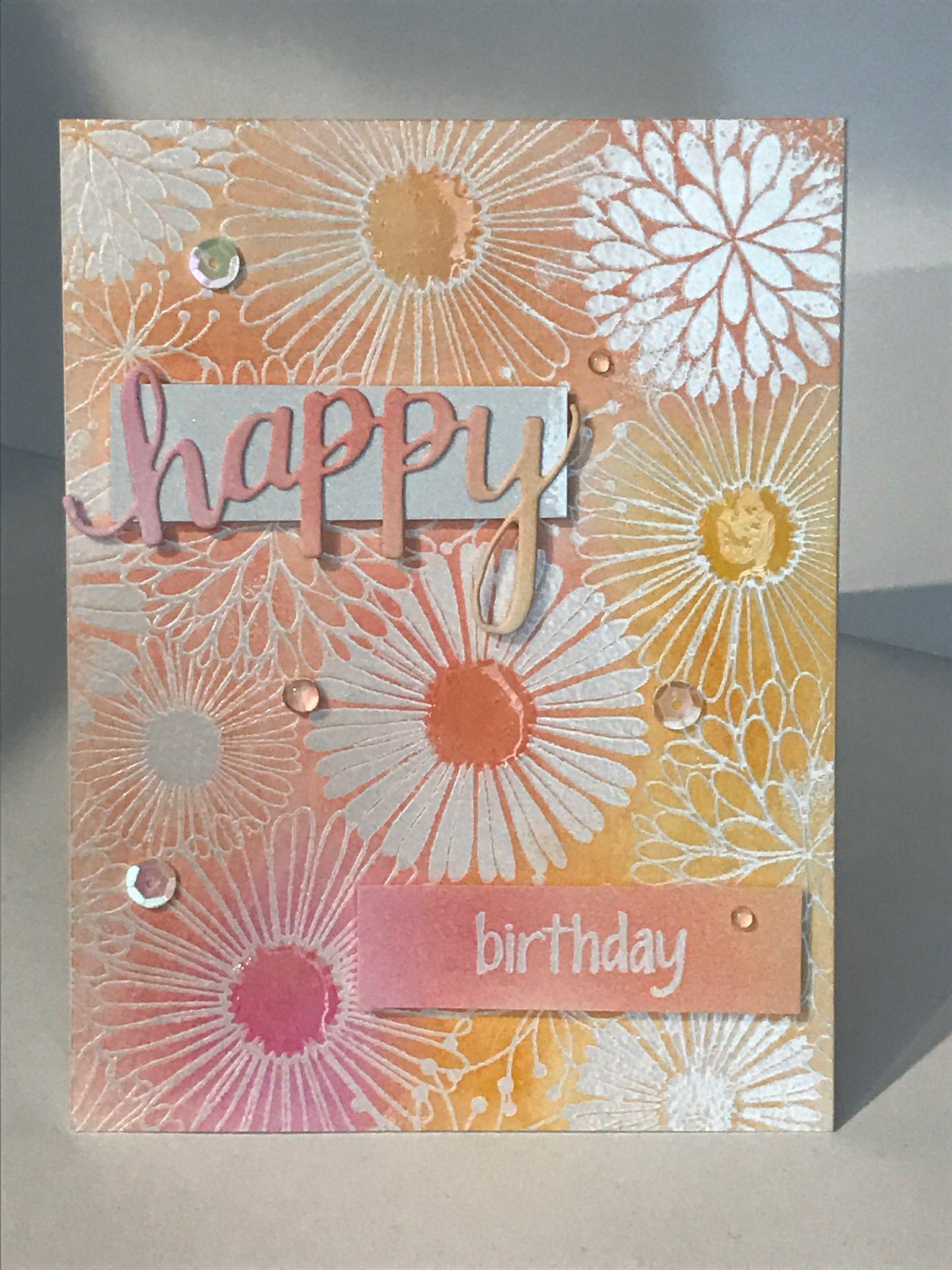 Birthday Card Embossing Ink Blending With Emboss Resist Die Cuts