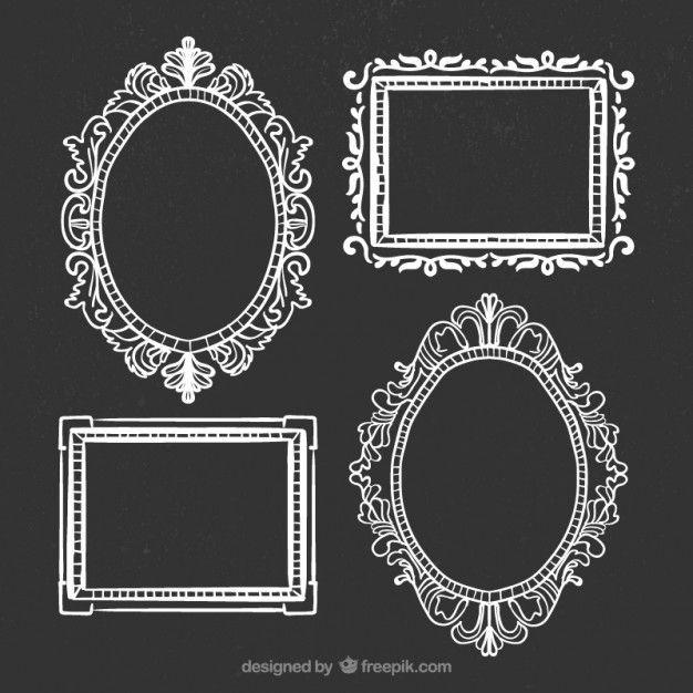 Hand Drawn Ornamental Frames On Blackboard Drawing Frames How To Draw Hands Vintage Frames Vector