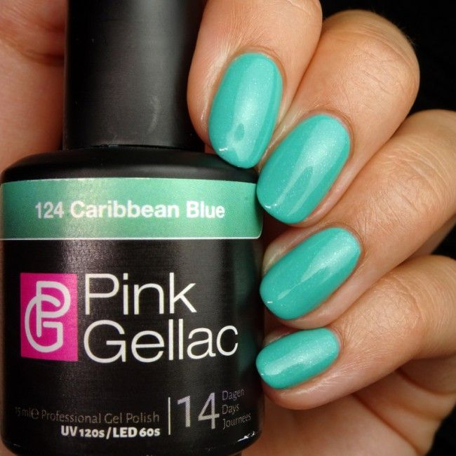 Pink Gellac Color 124 Caribbean Blue Gel Nail Polish
