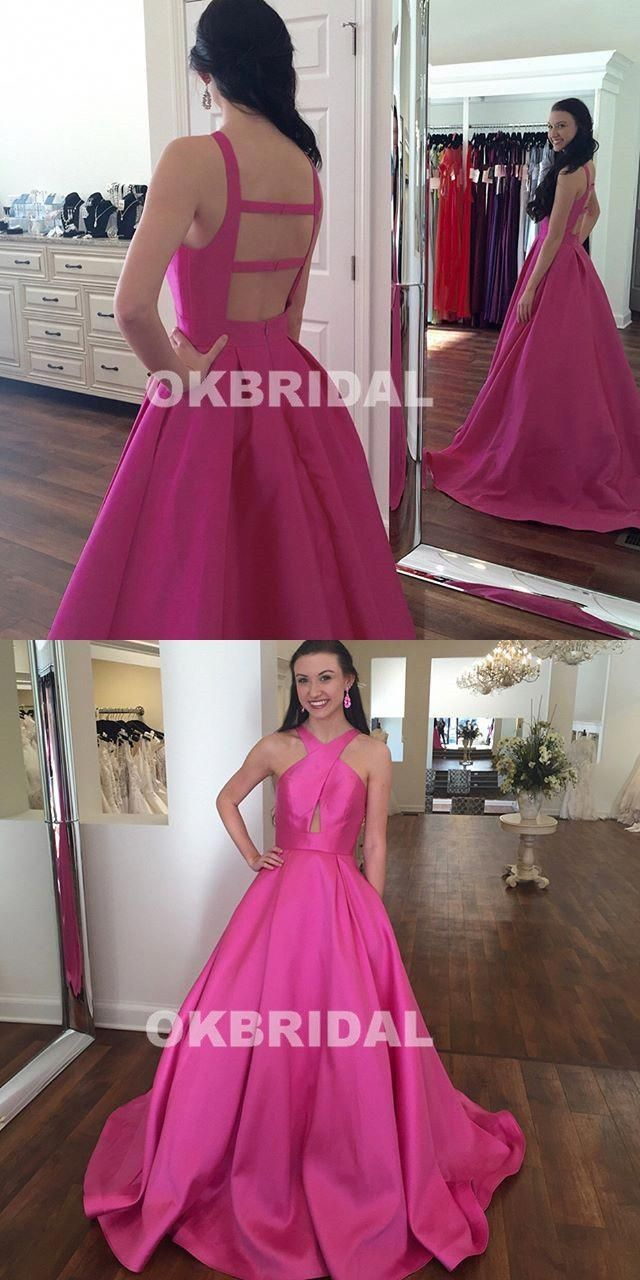 Newest satin aline prom dresses simple design backless prom
