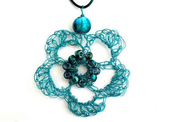 Crochet jewellery Teal Flower Pendant