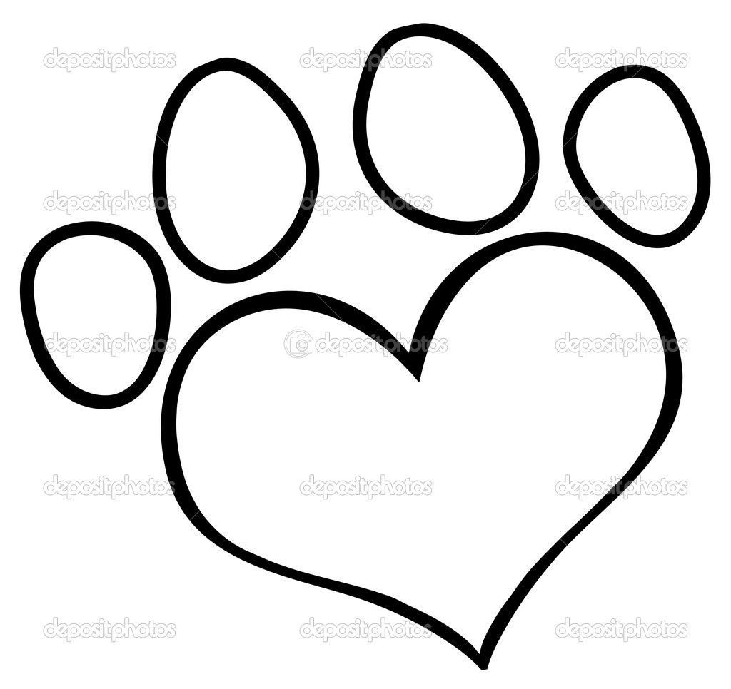 Paw Print Outline dog paw heart clip art depositphotos9793788