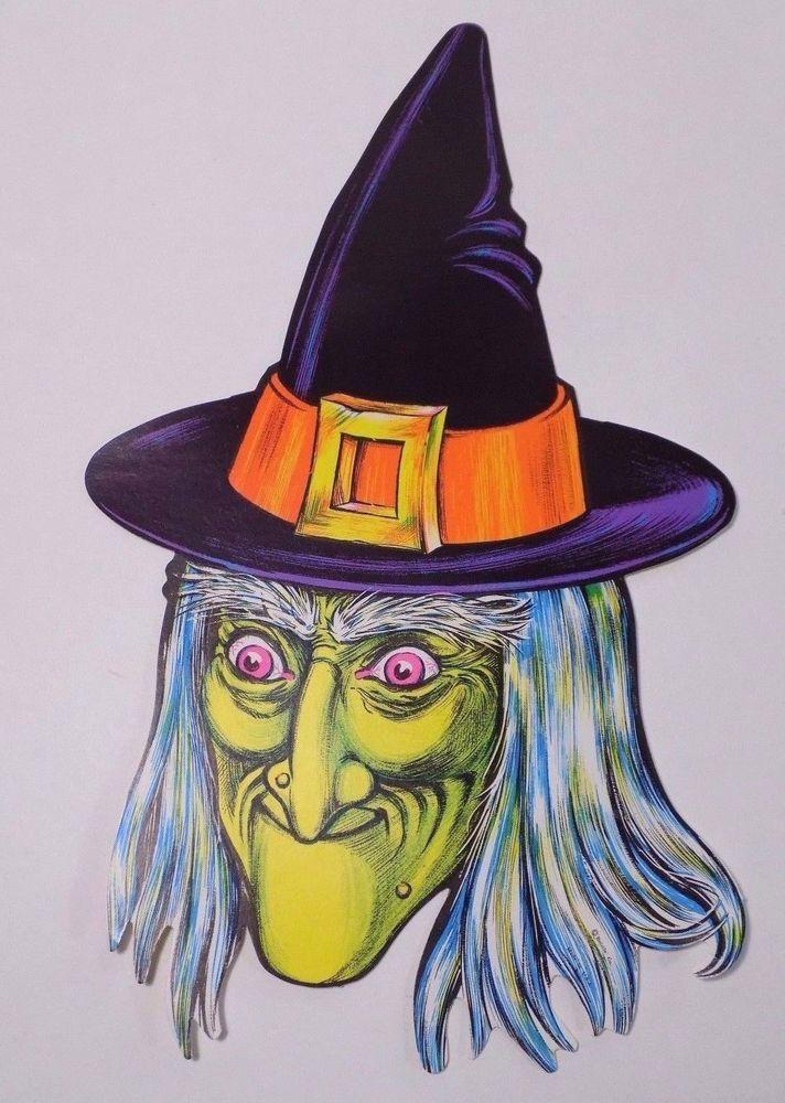 vintage witch beistle halloween decoration die cut poster board 15 - Beistle Halloween Decorations