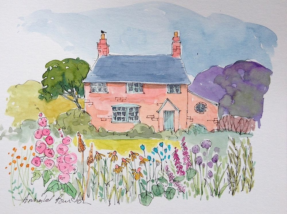 Signed Original Watercolour Painting Country Cottage By Annabel
