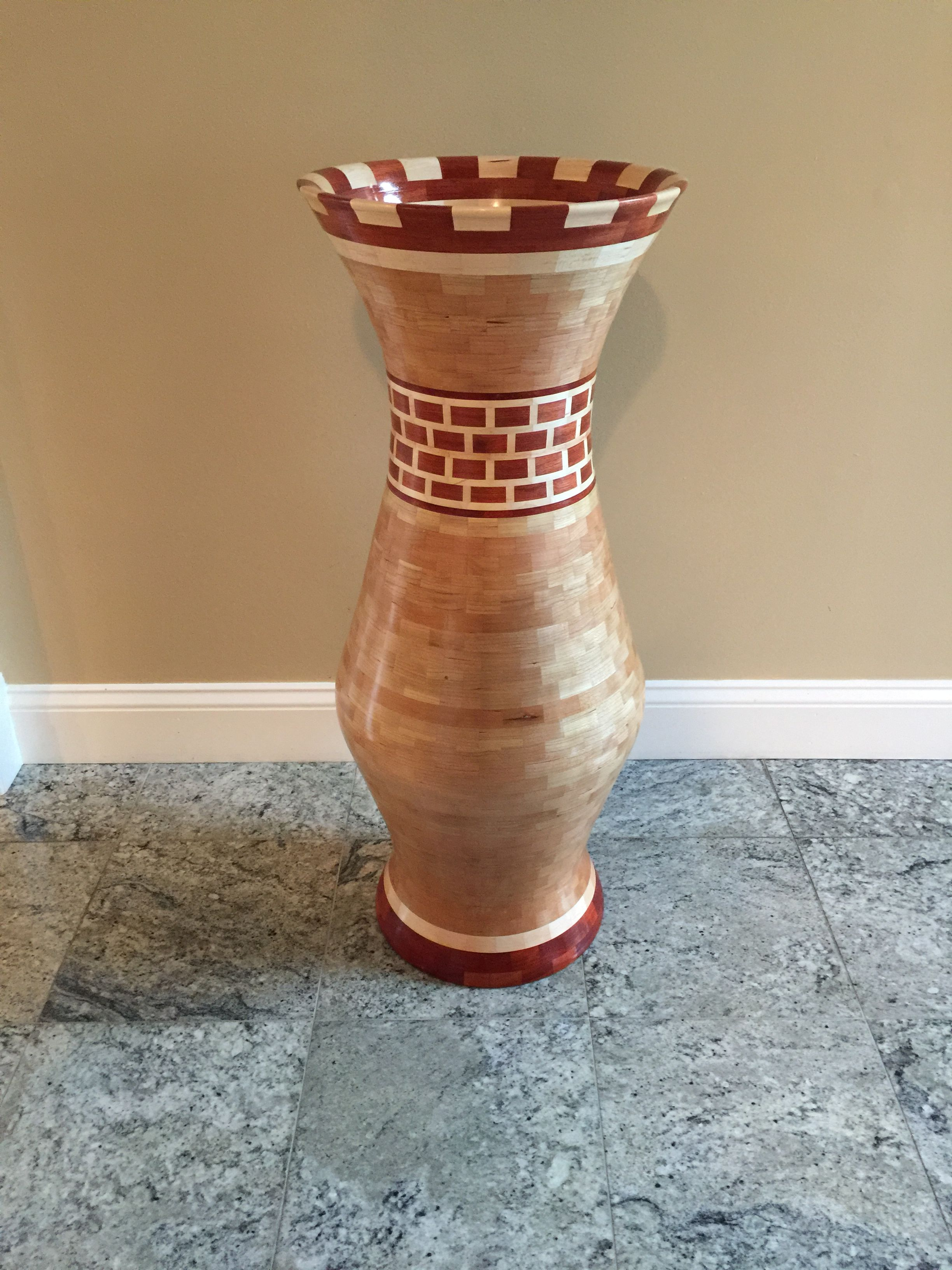 Segmented Vase Cherry Maple Bloodwood Pieces