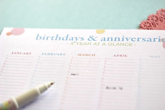 Printing This Birthday And Anniversary Calendar To Get On Track For