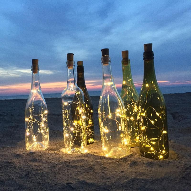 Cork Wine Bottle String Light-Red