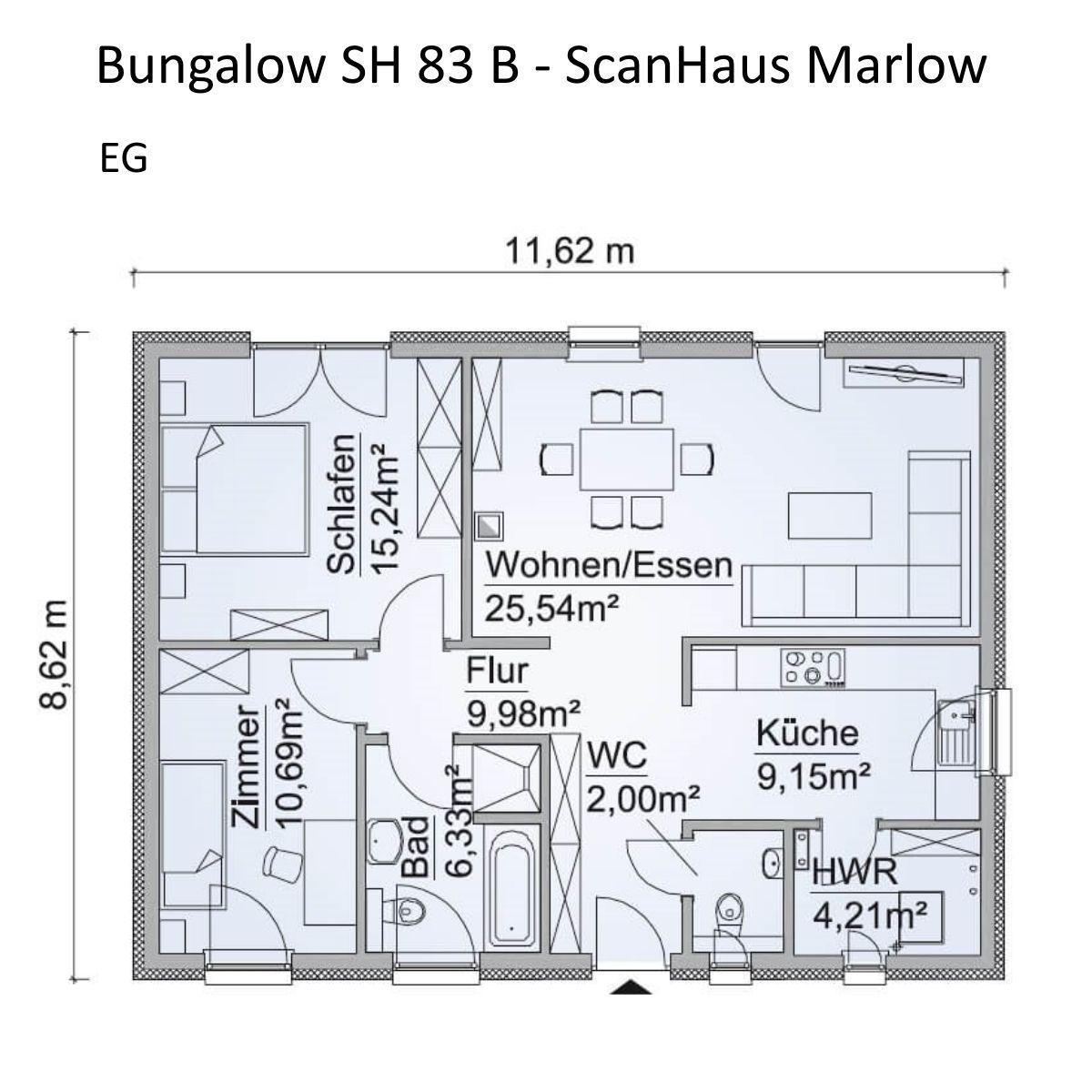 Bungalow Haus Grundriss Erdgeschoss ebenerdig, 3 Zimmer