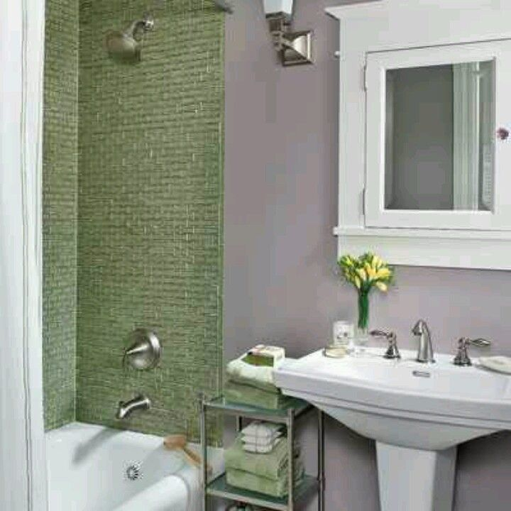 Green And Gray Bathroom Ideas: Lavender Walls In Bathroom With Sage Tiles, Love This
