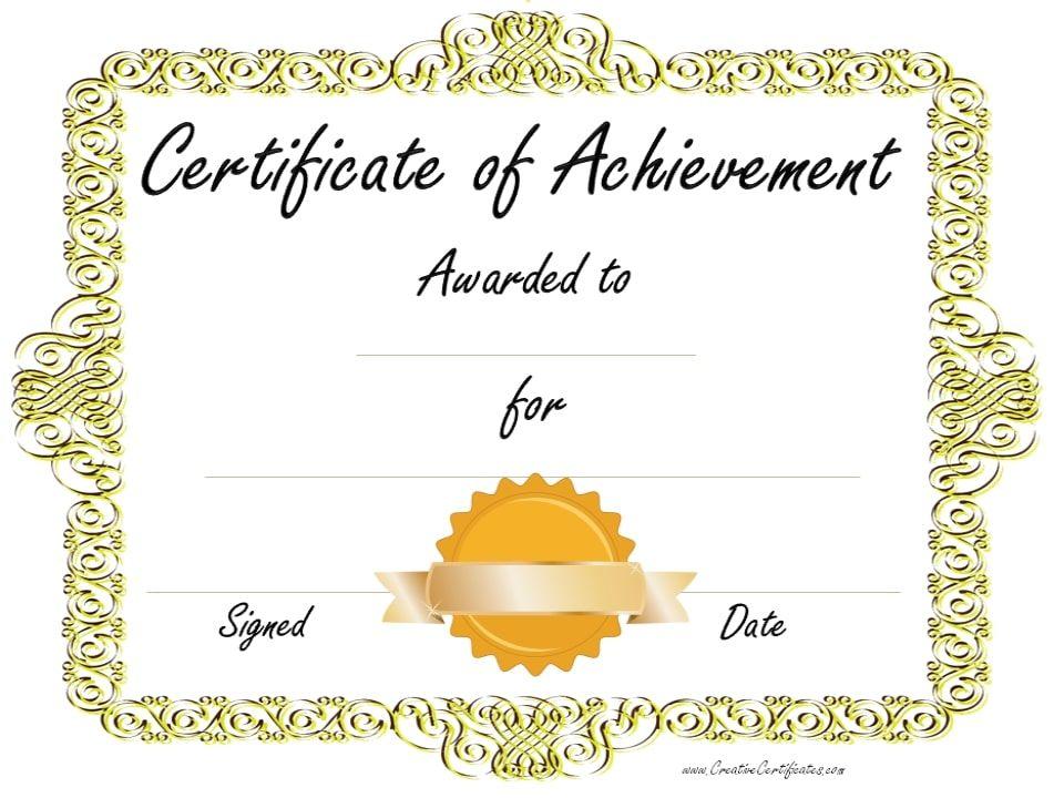Gold border with gold ribbon printables pinterest certificate gold border with gold ribbon free printable certificatesaward certificatescertificate templatesresume yadclub Images