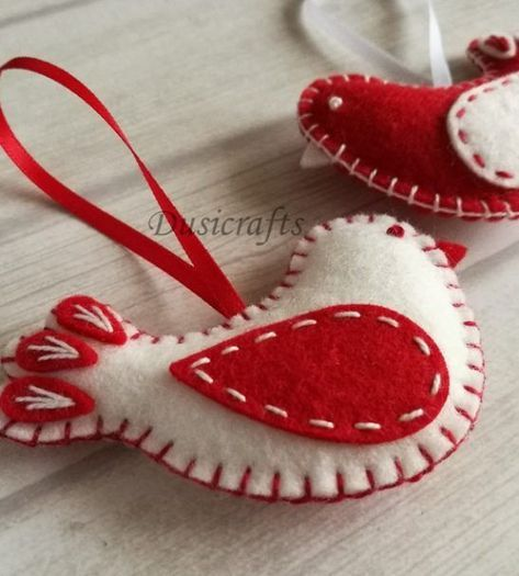 Wool Felt Red White Bird Christmas Ornaments #feltchristmasornaments