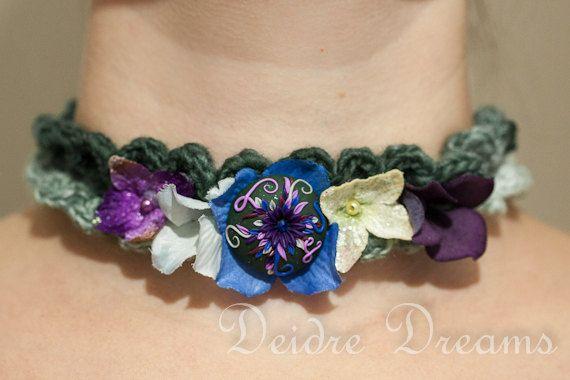 Woodland Fairy Hippie Crochet Choker  Polymer Clay by DeidreDreams, $55.00