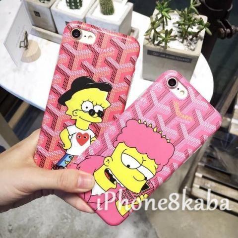 7d0c6b28b3 新入荷カップルThe Simpsons ゴヤールコラボ iphone8 ペアケース ラブラブ 熱い販売中!スクラブ生地のGOYARD  キャラクターシンプソンズ iphone7/6s/6カバー 高質 ...