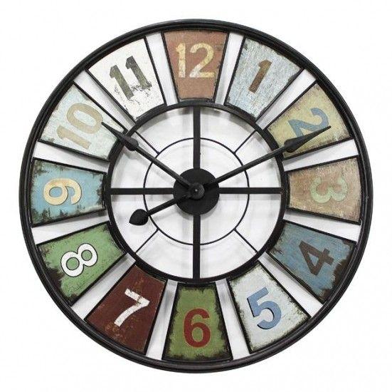 HUGE Round Industrial 80cm Multi Colour Metal Wall Clock   Clocks    Homewares   Lifestyle Lane