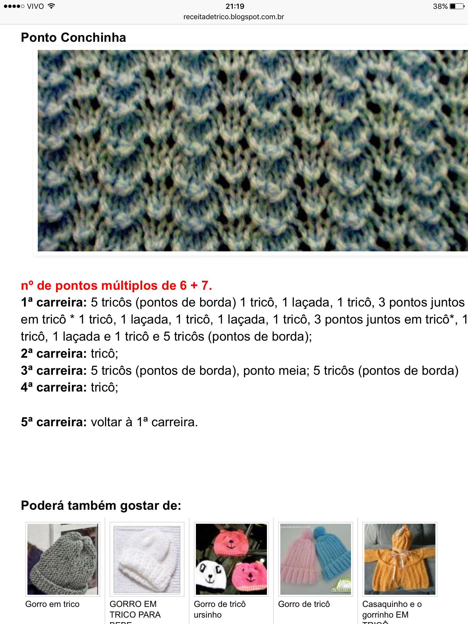 Pin de Lucia Correa en Tricô | Pinterest | Tejer gratis, Dos agujas ...