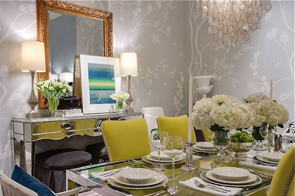 Love the grey and citron combo in such a traditional set up