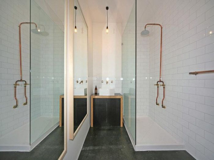 Exposed copper pipe plumbing bathrooms pinterest for Copper pipe shower