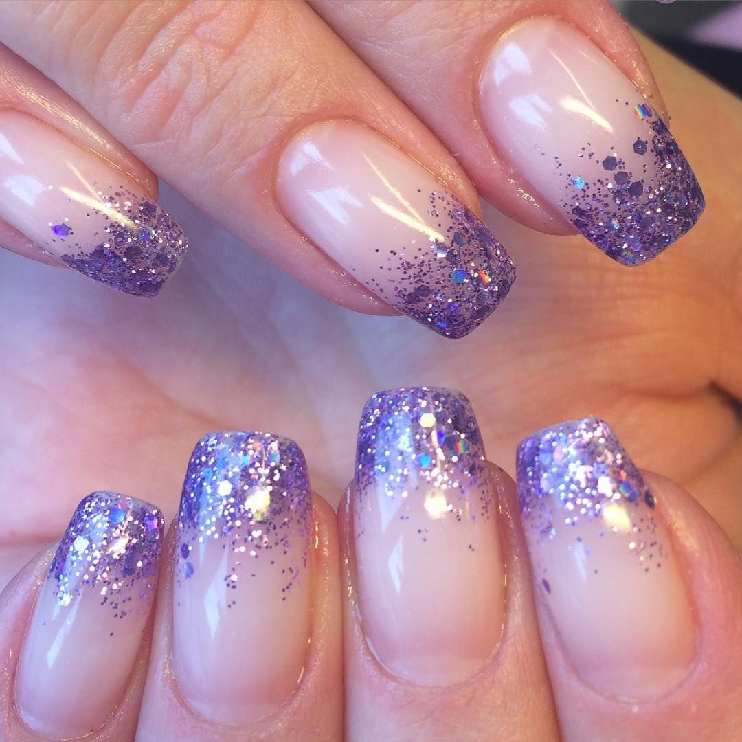 """Two Tone Nail Polish Fade: Glitter Fade Using """"Sour Grapes"""" Glitter Gel From Light"""