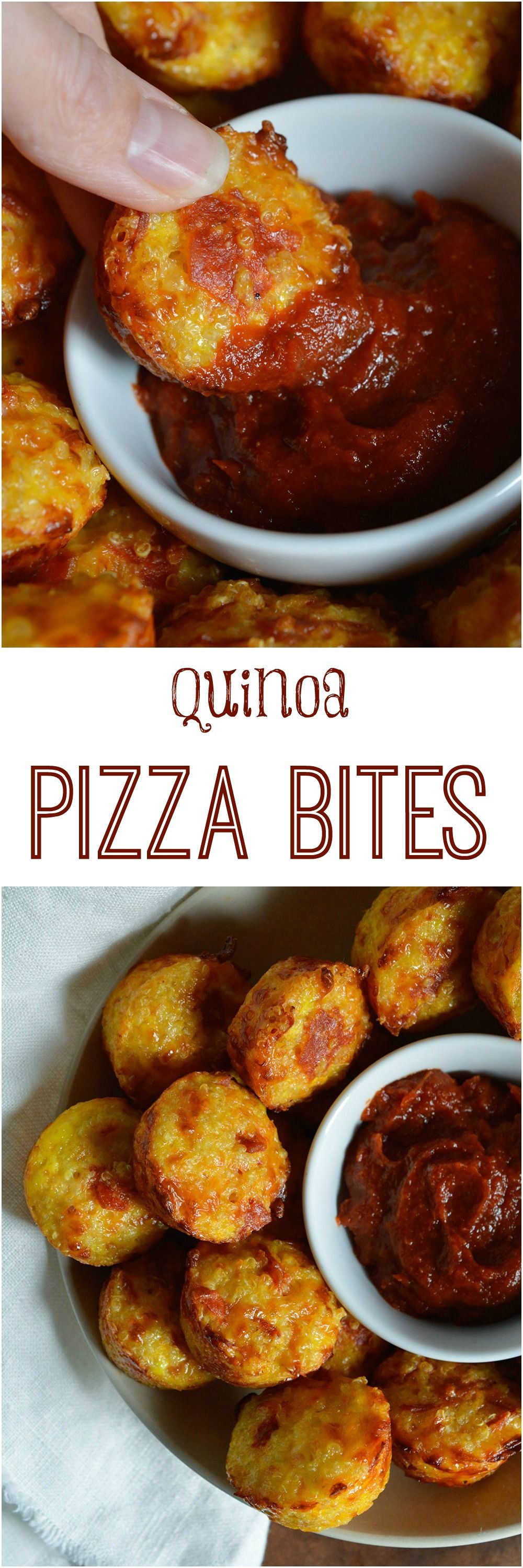 Gluten Free Quinoa Pizza Bites Recipe - This healthy pizza alternative has all the flavor of a cheesy pepperoni pizza without the guilt. This appetizer is best served with pizza sauce dip. #glutenfree #pizza wonkywonderful.com