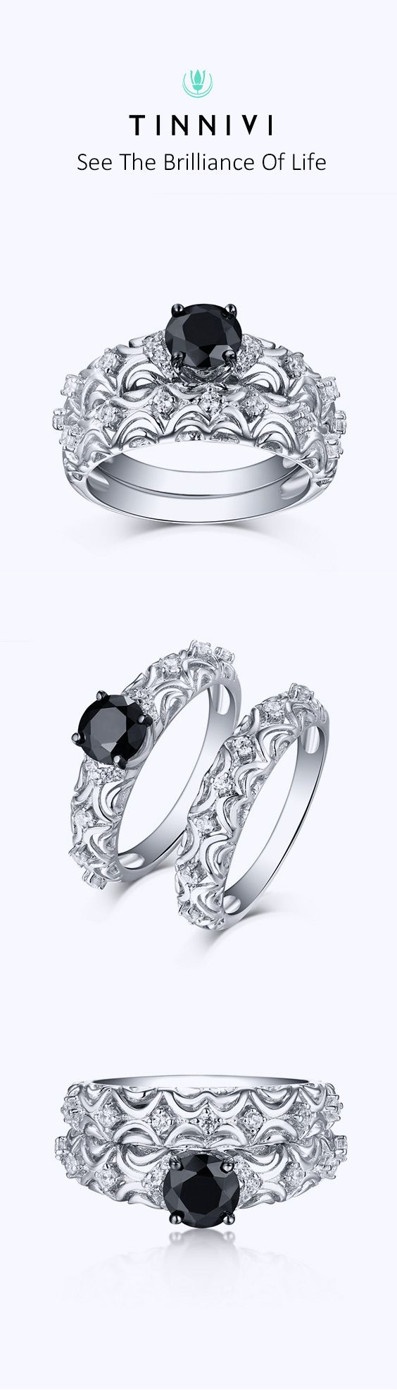 9d8a75a93f6664 Shop Tinnivi Vintage Style Sterling Sliver Black Diamond Women's Bridal  Ring Set online, Tinnivi Jewelry creates quality fine jewelry at gorgeous  prices.