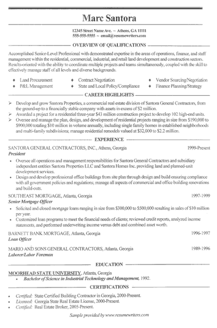 excellent content in this resume for industrial technology and management  general contractor