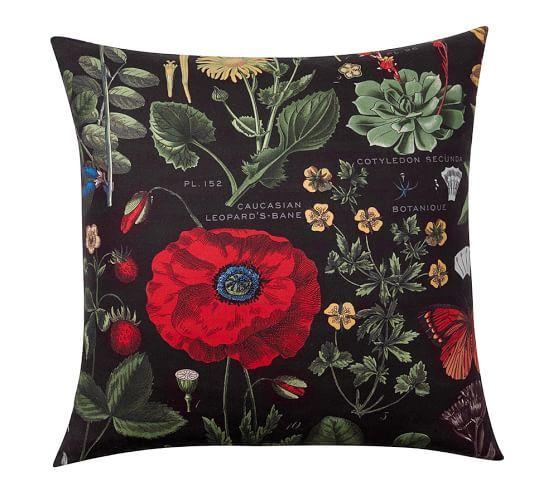 Poppy Botanical Print Pillow Cover Pottery Barn Throw