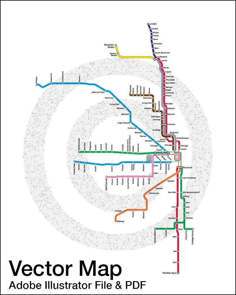 INSTANT DOWNLOAD   Vector Map   Chicago CTA Map, Adobe Illustrator