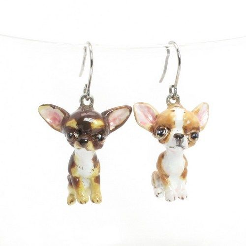 Chihuahua Earrings Clay Sculpted One of a Kind Gift Jewelry 0004   madamepomm - Jewelry on ArtFire