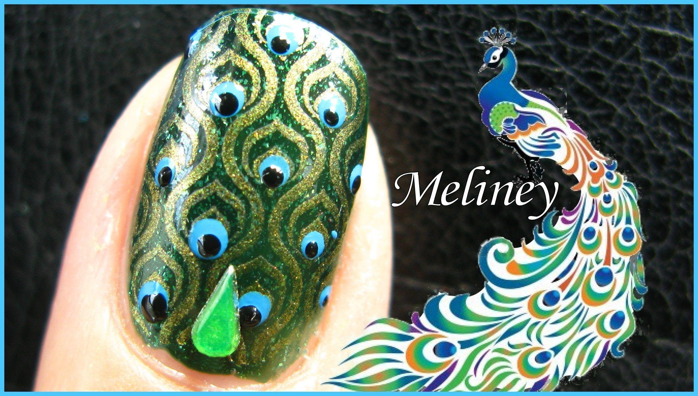Emerald peacock nail design green konad stamping nail art tutorial