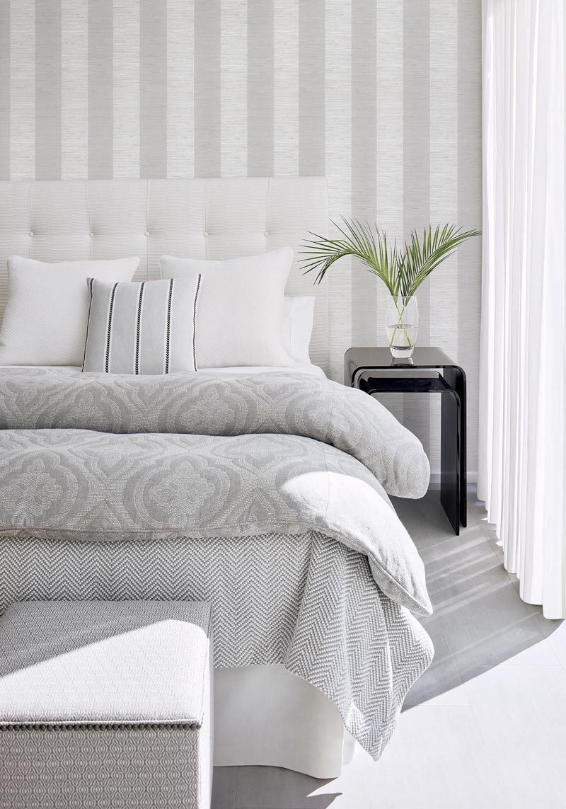 Crossroad Stripe Grasscloth Wallpaper Grey Wallpaper Living Room Striped Walls Bedroom Wallpaper Bedroom Feature Wall
