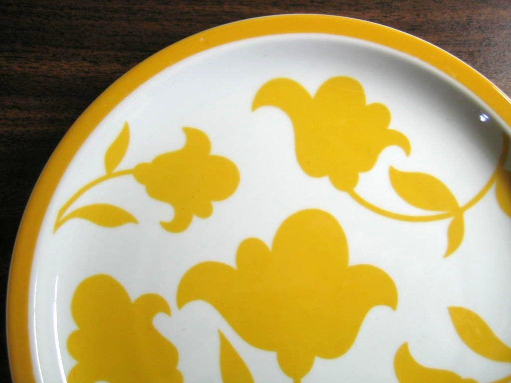 Mod Flower Power Golden Yellow Flowers Portugal Plate | Golden ...