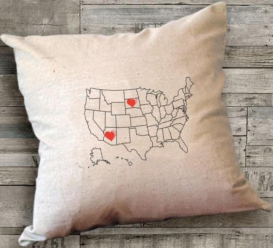personalized map pillow us map pillow map pillowgift for